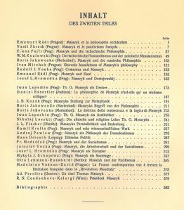 Masaryk Festschrift, Teil 2 Inhalt